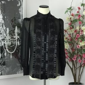 ALICE by Temperley Sheer SIlk Ruffle Gothic Blouse